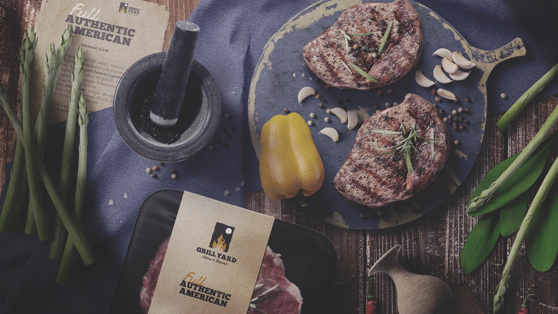 grill restaurant logo design branding grill yard egypt cover